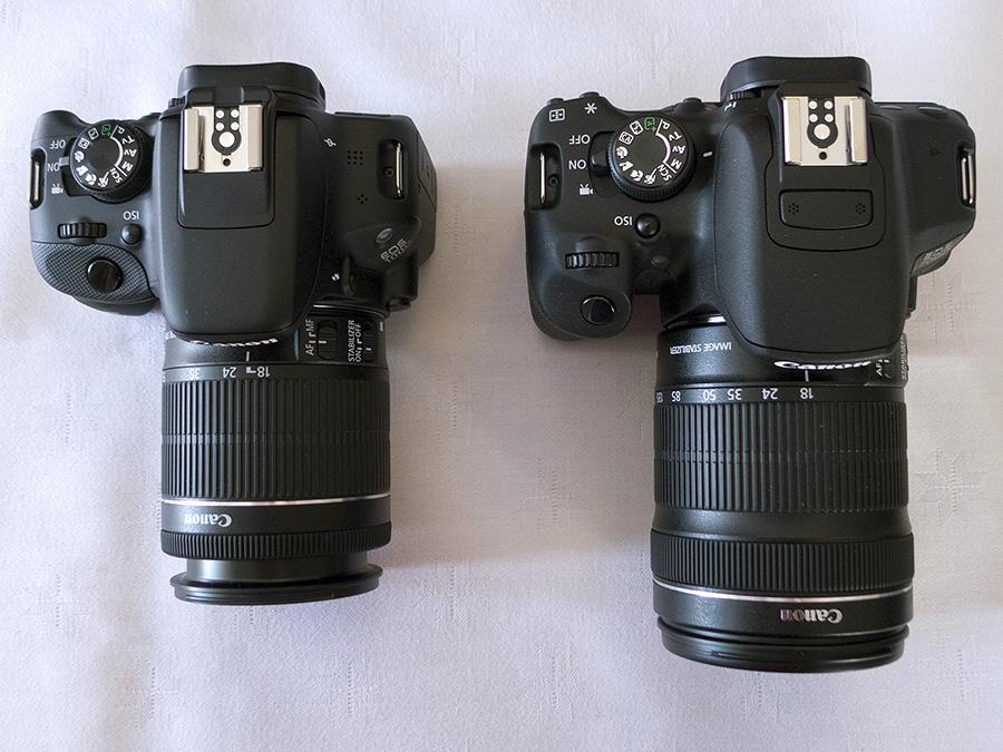 EOS 100D med 18-55mm til venstre, EOS 700D med 18-135mm til høyre.