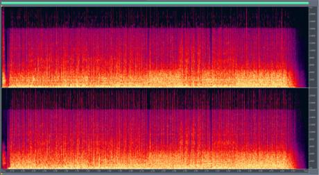 MP3 – 320 kbpsFrekvenser mellom 16 kHz og 20 kHz er for det meste kuttet bort. Bare tidvis dukker de opp, vi kan anta at komprimeringen prioriterer dette området kun ved høyfrekvente transienter, som anslag på cymbal, hi-hat, etc. De fleste voksne mennesker sliter med å høre stort over 16 kHz, så i praksis er ikke dette et stort problem.