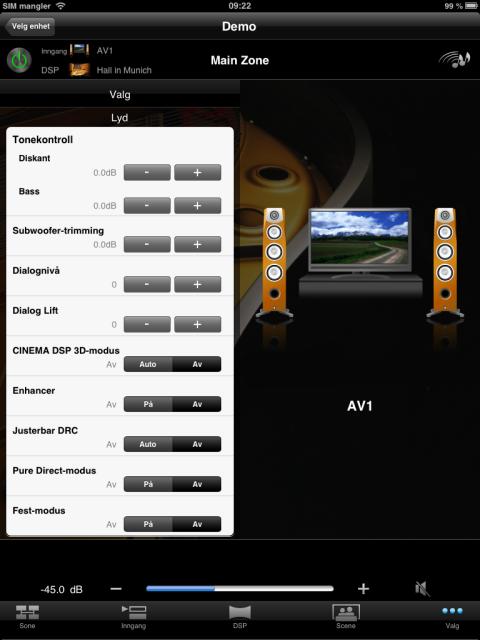 Spesielt iPad-versjonen av AV Controller gir svært god oversikt.