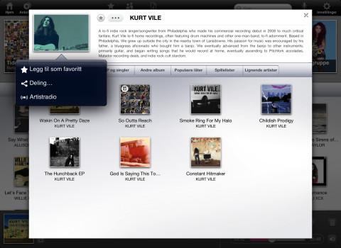 """Ved å klikke """"Artistradio"""", får du opp en spilleliste med andre artister som ligner."""