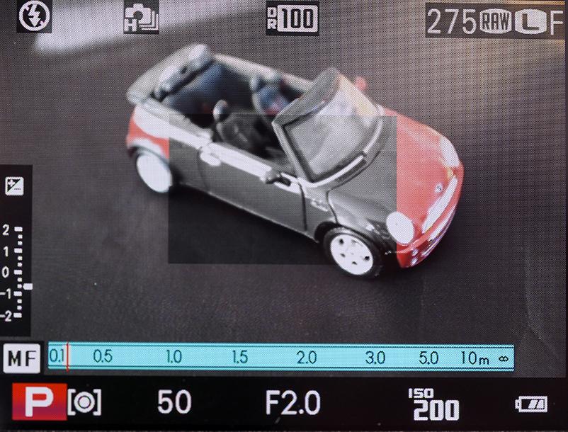Slik kan søkerbildet se ut, når man bruker splittbilde under manuell fokusering.
