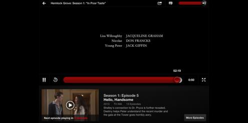 Etter å ha sett en episode, starter neste episode om ti sekunder.