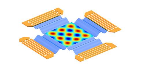 Simulering av elektrisk distribusjon i et todimensjonalt område med stående lydbølger. (Kreditering: Tony Jun Huang, Penn State)