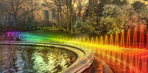 Wi-Fi-signaler er her overført over et bånd som er delt inn i underkanaler, her vist i blant annet rødt, gult og grønt.