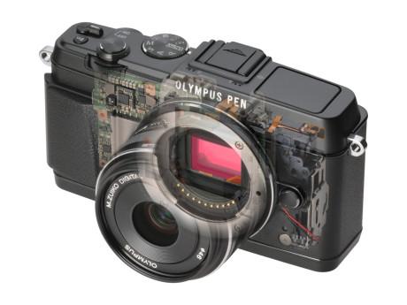 Kameraet har Olympus avanserte bildestabilisering innvendig, som beveger bildebrikken og fungerer uansett objektiv.