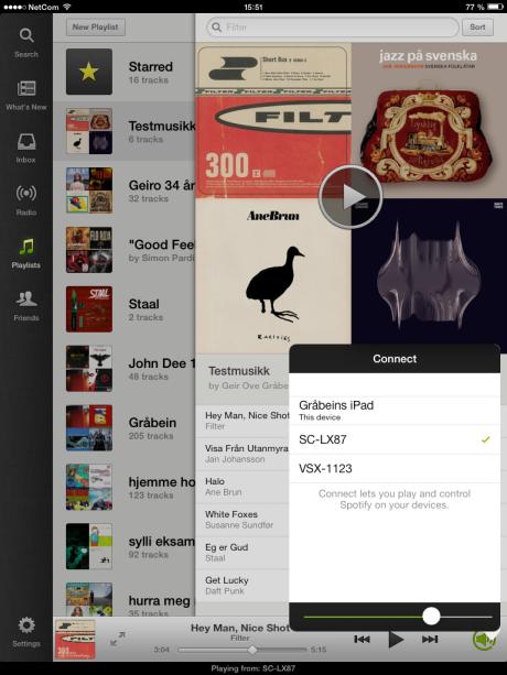 Med Spotify Connect kan du koble til flere lydprodukter, men du må velge ett om gangen. Det finnes ingen partymodus som gjør at alle kan spille samtidig.