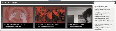 Øverst til høyre i Wimp-spilleren er linker til de siste artiklene i Wimp-magasinet.