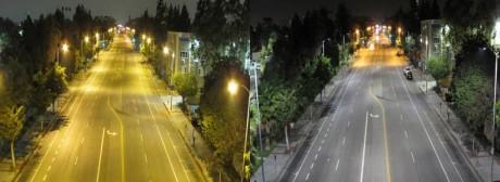 Bilde tatt av samme gate før og etter gatelysene er skiftet til LED. Foto: Los Angeles Bureau of Street Lighting