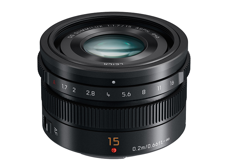 15mm-F1.7 ASPH lens (H-X015) Black slant