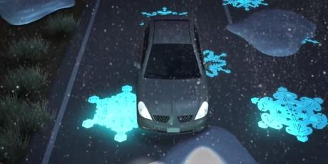 """Ved frysetemperaturer lyser det opp store """"snøfnugg"""" for å varsle sjåfører."""