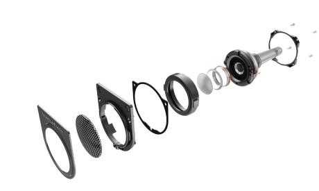 """Diskantelementets enkelte deler. Det sitter i et flytende oppheng med en """"Nautilus-pipe"""" på baksiden."""