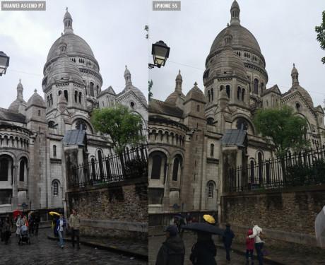 Samme motiv, Sacré-Coeur i Paris, skutt med iPhone 5S (til høyre) og Huawei Ascend P7 (til venstre).