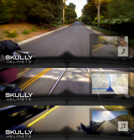 Her ser vi tre av mulighetene: inkommende samtale, GPS-navigasjon og bakkameravisning.