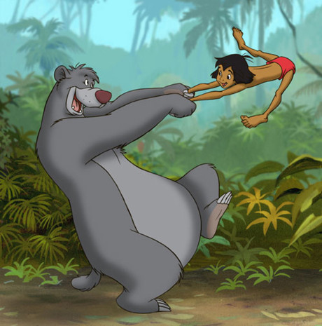 En jazz-svingende Baloo (Phil Harris) fra den enormt sjarmerende The Jungle Book (1967).