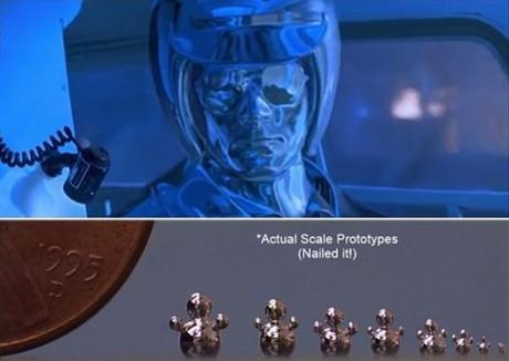 Over: T-1000 fra Terminator 2. Under: Babyskritt mot den ekte varen.