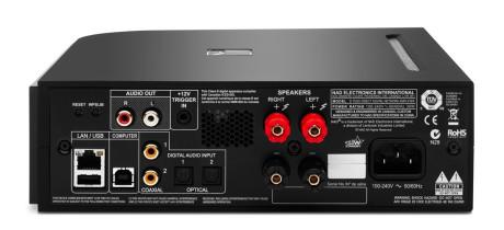 To koaksiale og to optiske innganger i tillegg til asynkron USB er plenty. I tillegg kan forsterkeren kobles til nettverket og strømme via Spotify Connect og AirPlay, og forsterkeren har også trådløs Bluetooth.