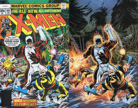 Det er ikke bare på film at kontrastfargene oransje og blått går igjen. Til venstre førsteutgaven av X-Men nr. 109 fra 1978, til høyre nyutgivelsen. Langt mer smell og dybde, men selve fargepaletten er mer utvasket.