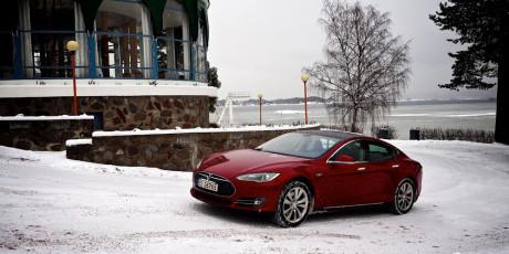 Vårt testeksemplar av Model S.