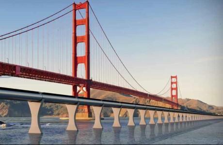 Slik kan beskuelsen av Golden Gate Bridge i San Fransisco bli, om Hyperloop blir virkelighet.