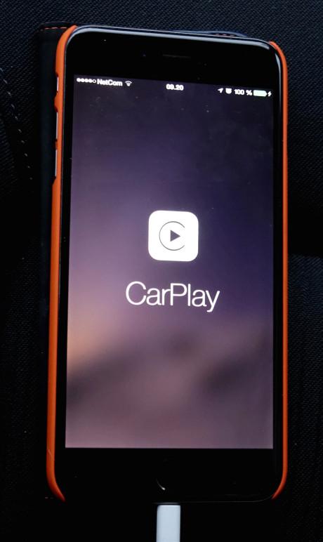 Dette symbolet vises på iPhone når den tilkobles anlegget med Lightning-til-USB-kabel.