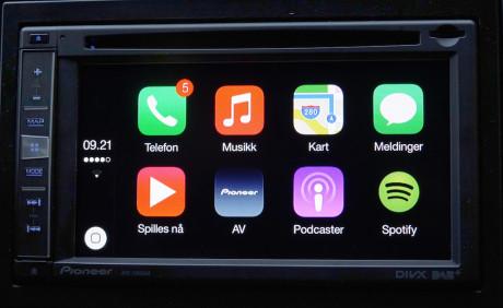 Slik ser CarPlay-menyen ut.