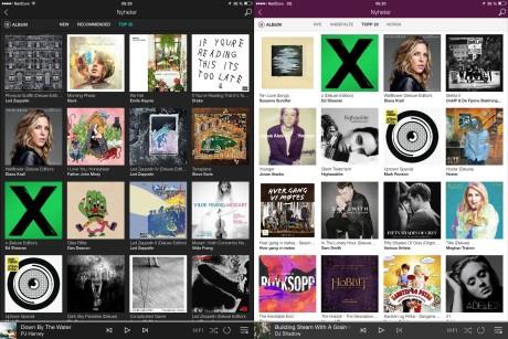 Listen over de 20 mest spilte albumene varierer nødvendigvis mellom Tidal og Wimp.