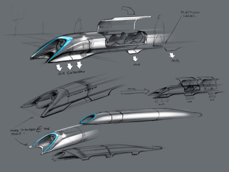 """This handout photo released by Tesla Motors on August 12, 2013 shows the concept drawing of the Hyperloop, a fast transport design unveiled August 12, 2013 by Elon Musk.  A design for a super-fast transport system dubbed """"Hyperloop"""" was set to be unveiled by inventor and entrepreneur Elon Musk.  Musk, who heads electric carmaker Tesla Motors and private space exploration firm SpaceX,  but said he is not planning a new venture.  """"We're going to provide quite a detailed design,"""" he said last week.  """"And then invite critical feedback and see if people can find ways to improve  it and then it can just be out there as an open source design that maybe can keep improving. And I don't have any plans to execute it, because I must remain focused on SpaceX and Tesla.""""  Reports said the system was a super fast transport system capable of speeds up to 1,150 kilometers (720 miles) an hour.   AFP PHOTO / TESLA MOTORS / HANDOUT    == RESTRICTED TO EDITORIAL USE / MANDATORY CREDIT: """"AFP PHOTO / TESLA MOTORS"""" / NO SALES / NO MARKETING / NO ADVERTISING CAMPAIGNS / DISTRIBUTED AS A SERVICE TO CLIENTS =="""