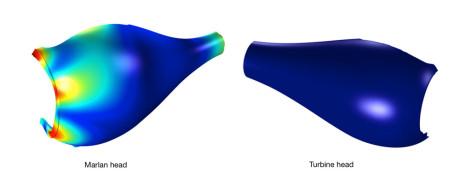 Det nye Turbine-hodet har langt mindre mekanisk forvrengning enn det gamle Marlan-hodet.
