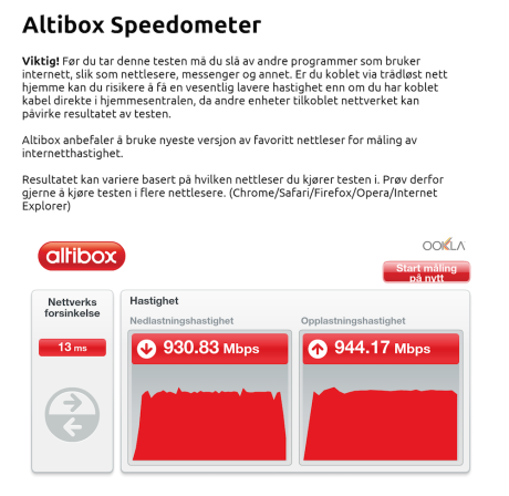 Tilkoblet nettet med kabel fikk jeg godt over 900 Mbit/s begge veier. (Foto: Skjermdump)