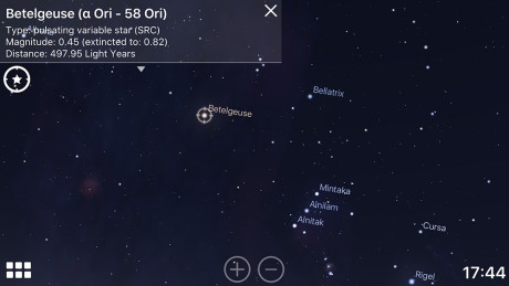 Trykk på himmelobjektet og få opp informasjon. For eksempel at Betelgeuse er en pulserende variabel SRC (supergigant), 497,95 lysår unna.  (Foto: Stellarium)
