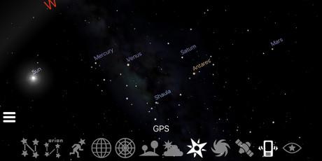 Akkurat nå er fem planeter synlige samtidig, på morgenhimmelen. (Foto: Stellarium)