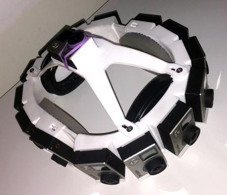 Frister det med 15 kameraer av typen GoPro Hero4 Black Edition, montert på en 3D-printet 360-graders hoderigg? Selvsagt! Foto: Geir Gråbein Nordby