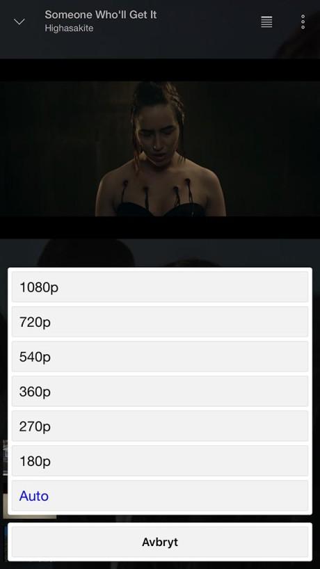 Avspillingskvalitet kan velges fra 180p helt opp til 1920p Full HD.