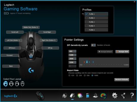Den medfølgende programvaren lar brukeren kalibrere musen til underlaget, samt spesialtilpasse lys, knapper osv.