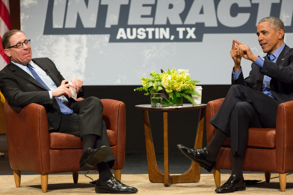 President Barack Obama in conversation with Evan Smith of the Texas Tribune during a keynote presentation on the opening day of SXSW Interactive at the Long Center for the Performing Arts in Austin, Texas on March 11, 2016. Obama talked about the potential of technology to enhance government and democracy. (Julia Robinson/Special Contributor)