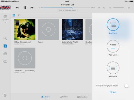 Musikkbiblioteket på USB-minne eller nettverks-harddisk er ryddig presentert, med ikoner hvis tilgjengelig. Foto: Skjermdump fra iPad-appen.