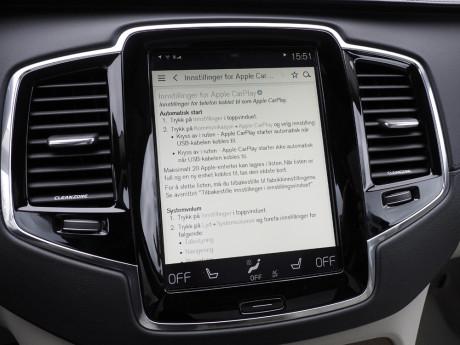 Lurer du på noe, er bruksanvisningen integrert i Volvoens infotainmentsystem. Foto: Lasse Svendsen