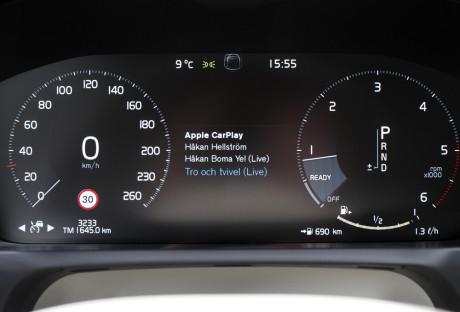 I Volvo XC90 og noen andre biler, kan du også få CarPlay-info i instrumentpanelet. Foto: Lasse Svendsen