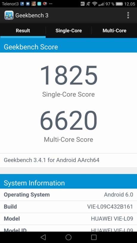 Geekbench 3 Benchmark-resultat.