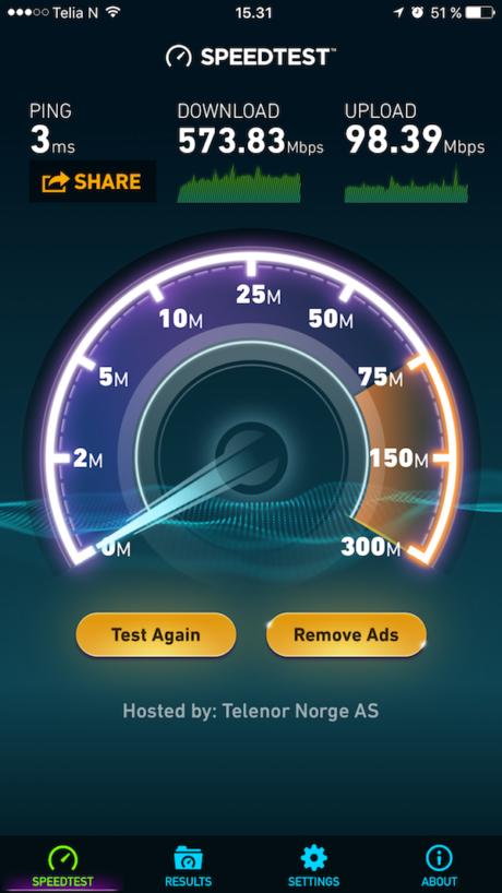 Undertegnede har 1 Gb/s både ned og opp, på Wi-Fi blir det typisk rundt 500-600 Mbps hver vei. Men med Circle innkoblet begrenses opplastingshastigheten til rundt 100 Mbps. Foto: Skjermdump fra Speedtest
