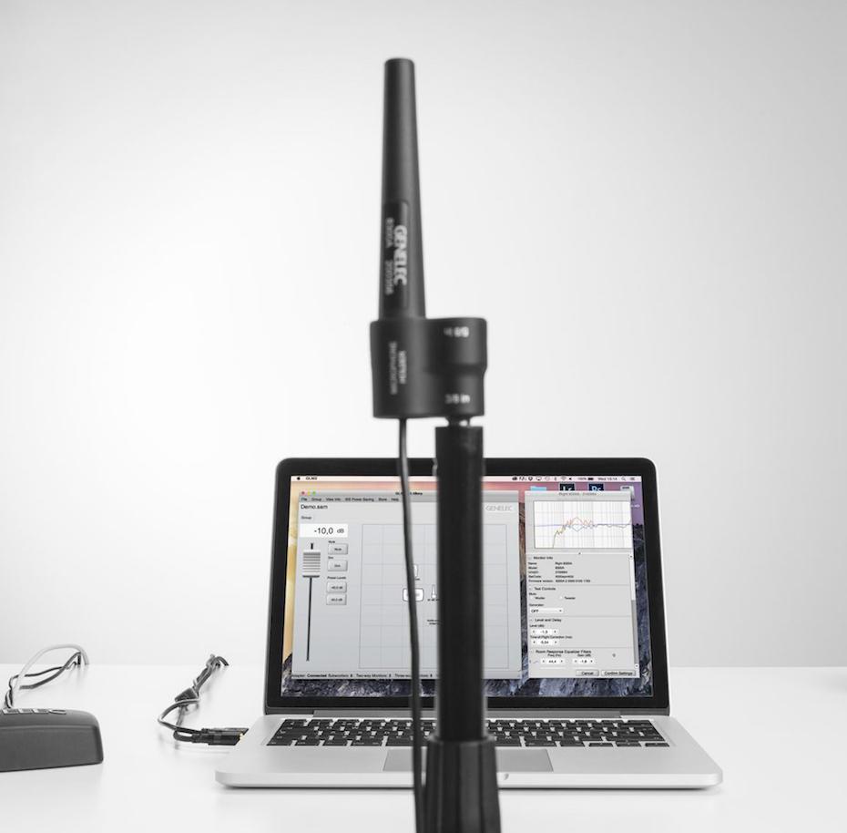 Med pakken GLM 2.0 får du målemikrofon og programvare for å konfigurere høyttalerne og tilpasse dem til rommet. Foto: Genelec