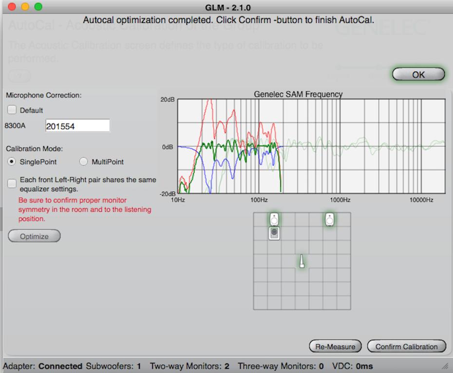 Den samme typen frekvenskalibrering gjøres for subwooferen. Foto: Skjermdump