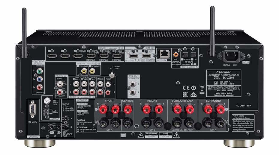 Pioneer SC-LX501 mangler multikanals forforsterkerutgang, som gjør at man aldri kan oppgradere til mer kraft. Foto: Pioneer